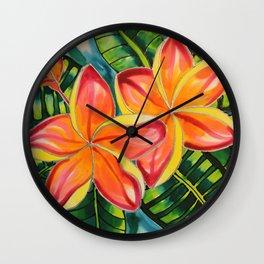 Pink Plumeria of Belize Wall Clock
