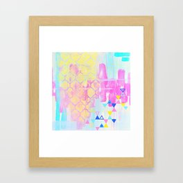 Abstract Mix - Lemon Yellow, Magenta & Turquoise Framed Art Print