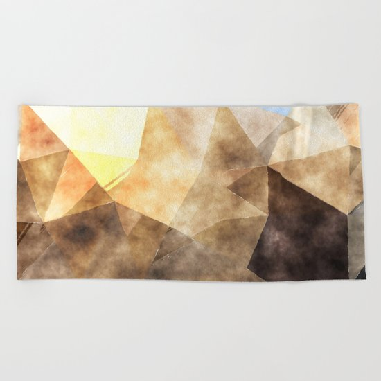 On the fields- Abstract watercolor triangle pattern Beach Towel