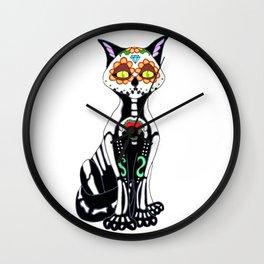 Sugar Skull Kitty Cat Wall Clock