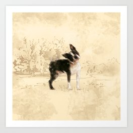 Boston Terrier Watercolor Digital Art Art Print