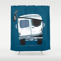 booty Shower Curtains featuring The Booty Wagon by Brandon Ortwein