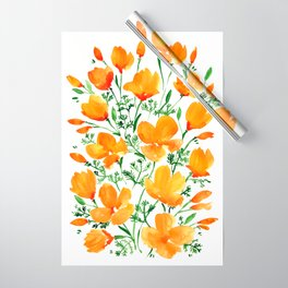 Watercolor California poppies Wrapping Paper