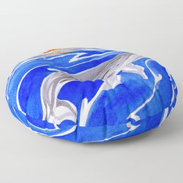 humpback whale and polynesian outrigger sail boat Floor Pillow