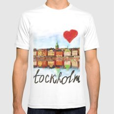 I love Stockholm Mens Fitted Tee MEDIUM White