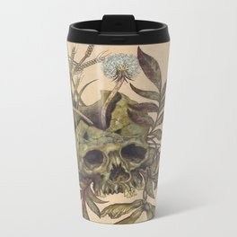 Skull with Weeds. Metal Travel Mug