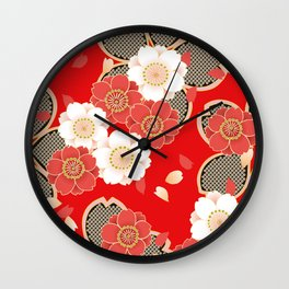 Japanese Vintage Red Black White Floral Kimono Pattern Wall Clock
