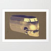 volkswagen Art Prints featuring Skull Volkswagen by Bright Enough💡