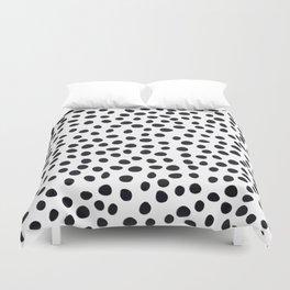 Hand Drawn Polka Dots, Spots Black &  White Duvet Cover