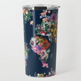 world map floral Travel Mug