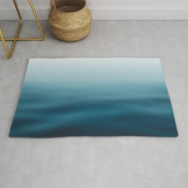 blue white gradient - water color, abstract ocean blur Rug