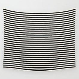 Black Linen Seashell Fine Stripe Wall Tapestry