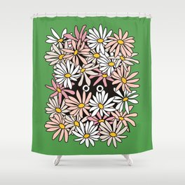 Shy Wallflower - anxiety, awkward, green, pink, flowers, daisies, daisy, retro, vintage, 60s, 70s Shower Curtain