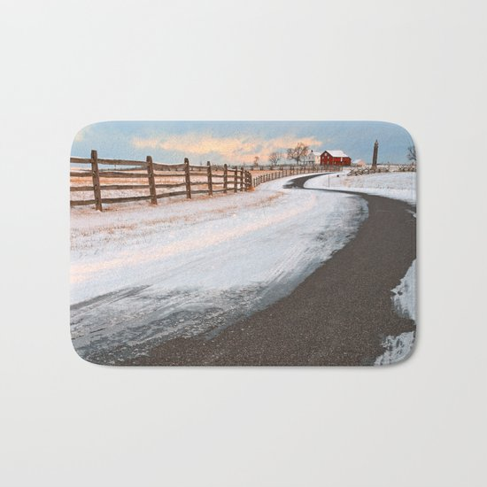 Winding Winter Road Bath Mat