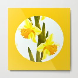 Yellow Spring Flowers with Green Leaf #decor #society6 #buyart Metal Print