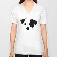 jack russell V-neck T-shirts featuring Jack Russell Dog Breed by Maria Faith Garcia
