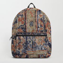 Vintage Woven Navy Blue and Tan Kilim  Backpack