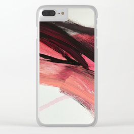 Entangled: a vibrant, colorful, abstract mixed-media piece in pinks and reds Clear iPhone Case