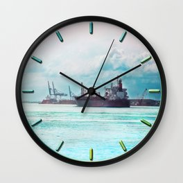 Big Ship on the Mississippi Wall Clock