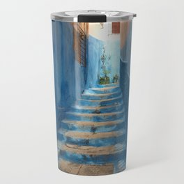 Narrow Blue Stairway in Morocco Travel Mug