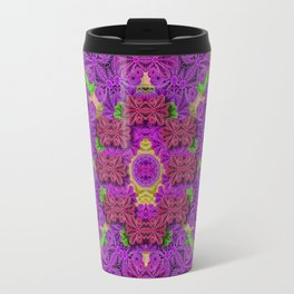 Rainbow and peacock mandala in heavy metal style Travel Mug