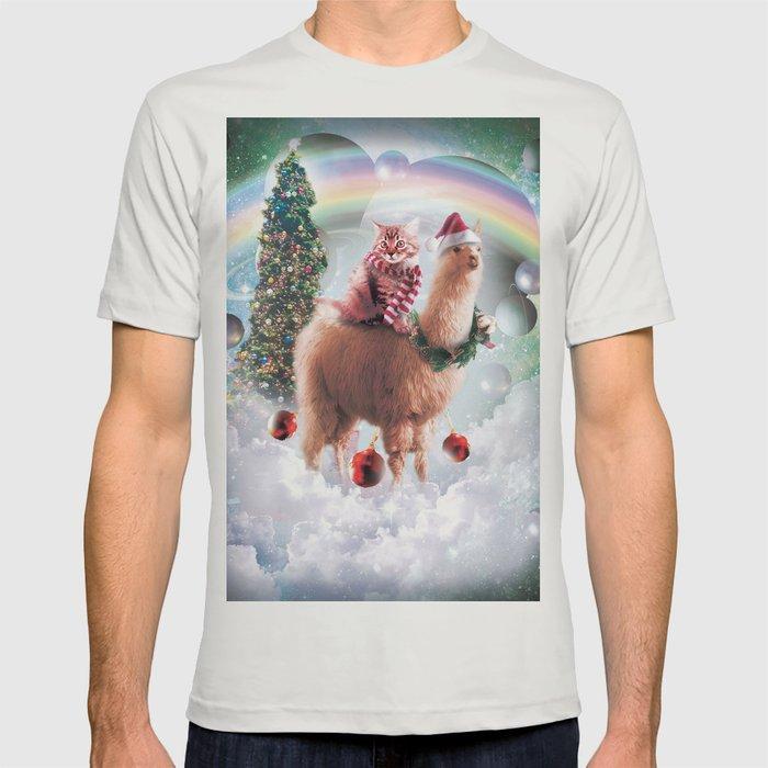 Llama Christmas Shirt.Christmas Rainbow Llama Cat Llama T Shirt