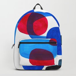 Abstract Minimalist Mid Century Modern Colorful Pop Art Retro Funky Shapes Blue Turquoise Backpack
