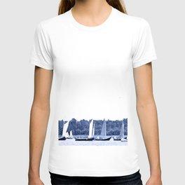 Dutch sailing boats in Delft Blue colors T-shirt