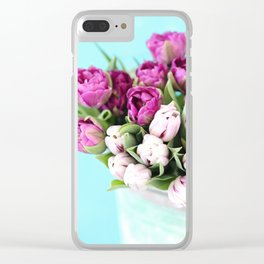 pink and purple tulips Clear iPhone Case