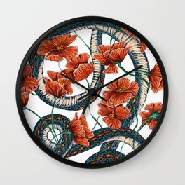 Let Go, Let Grow – Teal Snake in Red Poppies Wall Clock