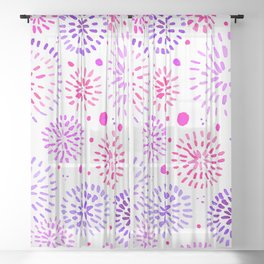 Abstract watercolor sparkles – ultraviolet and pink Sheer Curtain