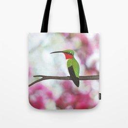 ruby throated hummingbird - male on pink bokeh Tote Bag