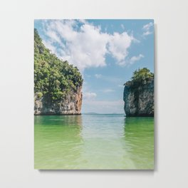 Crystal Waters and White Limestone Cliffs in Thailand Fine Art Print Metal Print