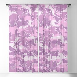 Horse Camo PINK Sheer Curtain
