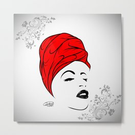 Lady Wrap (red) Metal Print