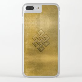 Golden Embossed Endless Knot Clear iPhone Case