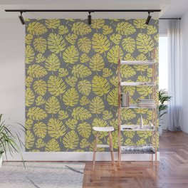Leaves in Yellow and Grey Pattern Wall Mural