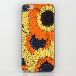 Abstracted Orange Yellow Deco Sunflowers iPhone Skin