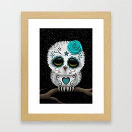 Adorable Teal Blue Day of the Dead Sugar Skull Owl Framed Art Print