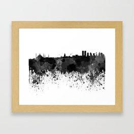 Istanbul skyline in black watercolor Framed Art Print