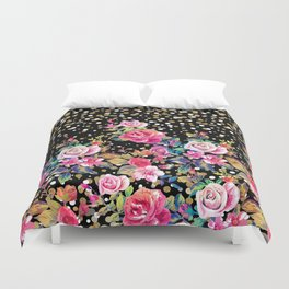 Modern watercolor spring floral and gold dots pattern Duvet Cover