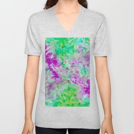 psychedelic geometric triangle abstract pattern in purple and green Unisex V-Neck