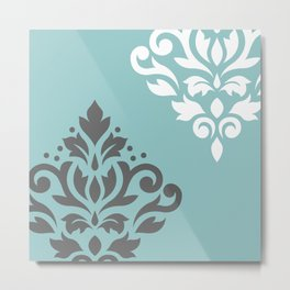 Scroll Damask Art I Gray White Teal Metal Print