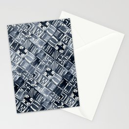 Simply Tribal Tiles in Indigo Blue on Lunar Gray Stationery Cards