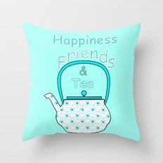 Happiness And Tea Throw Pillow