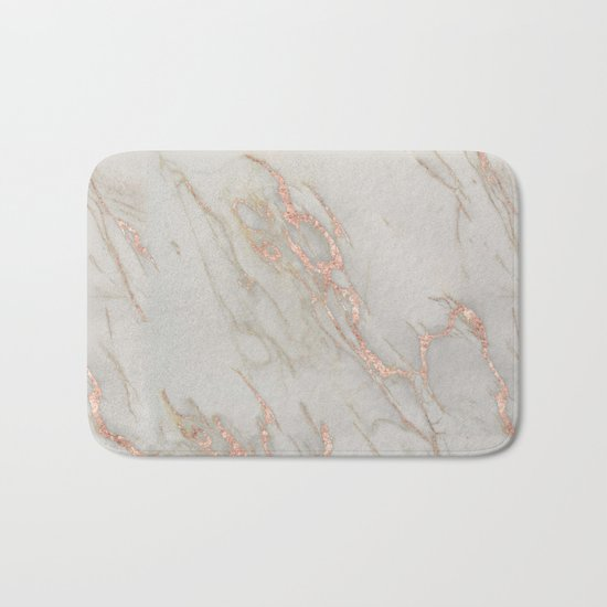 Marble - Rose Gold Marble Metallic Blush Pink Bath Mat