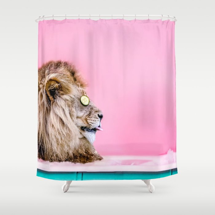 Lion in the Bathtub Shower Curtain