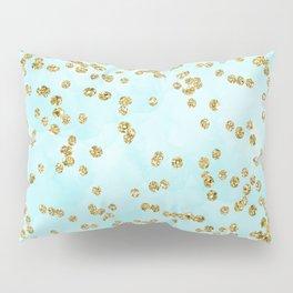 Sparkling gold glitter confetti on aqua ocean blue watercolor background - Luxury pattern Pillow Sham