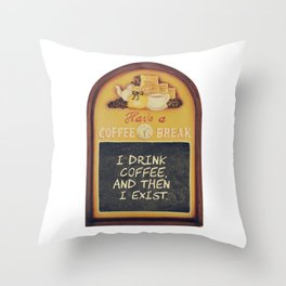 Coffee lover quote in a vintage wood sign Throw Pillow