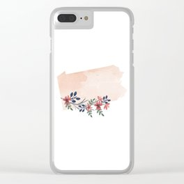 Pennsylvania Watercolor Floral State Clear iPhone Case